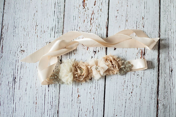 Rustic Bridal Sash, Bridal Belt, Champagne Bridal Sash, Bridesmaid Sashes,Tan Bridesmaid Sash/Belt, Flower Girl Sash, Flower Girl Belt