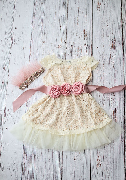 Boho Flower Girl Dresses, Champagne Flower Girl Dress, Girls Dress, Lace Flower Girl Dress, Rustic Flower Girl Dress, Ivory lace dress
