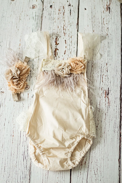 Baby Champagne Boho Girl Romper for First birthday Outfit, Cake Smash, Photo Prop, Baby Shower Gift