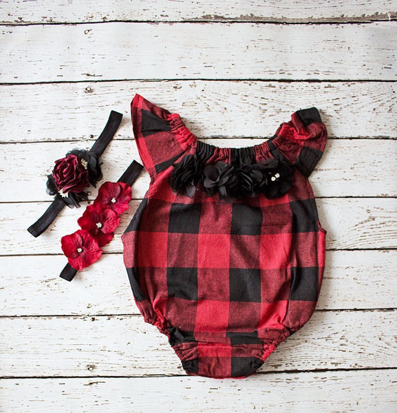 Christmas Outfit Girl, Buffalo Plaid Baby Outfit, Black Red Checkered Girl Romper, 1st Birthday Girl Outfit, Boho Baby Romper