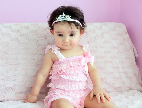 Petti Romper set...Pink petti romper...Princess tiara headband and romper set