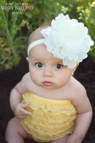 flower headband for toddler girl..newborn..ivory big flower headband..photography prop