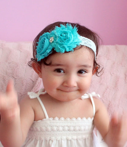 Aqua Baby Headband..Shabby Chic Baby Headband..Messy Headband..Baby Girl Bows..Hair Clips