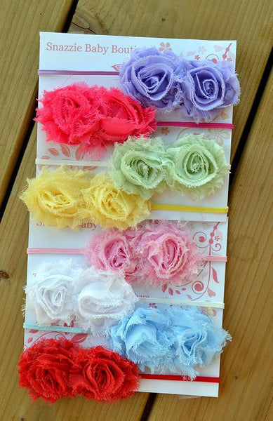 Headband set... Mini shabby set headband ....Newborn headband set..baby girl headband..Set of 4 Mini Shabby headband