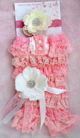 Cyber Monday Sale..Petti Romper and headband set-Headband- newborn headband,baby girl headband, toddler headband- Pink and white romper set