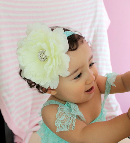 Big Flower Headband...for toddler girl..newborn..ivory big flower headband..photography prop