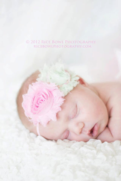 Baby headband..Pink Shabby Chic Headband...Newborn Headband..Baby Girl Headband...Pink and Mint Headband