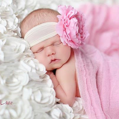 baby headband..bow headband..pink flower headband..newborn headband..girl headband, toddler headband..photography prop,birthday prop