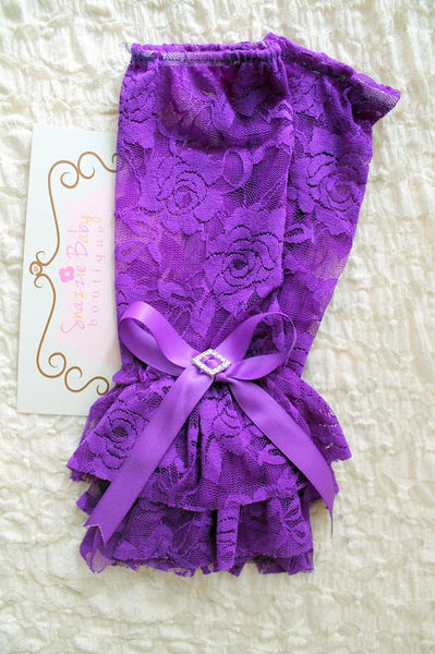 baby lace leg warmers, baby girl purple leg warmers, photography prop