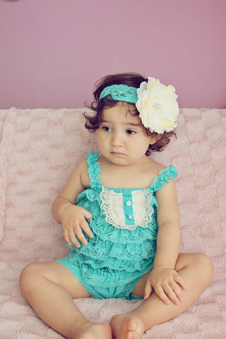 baby Petti Romper..baby girl petti romper...teal petti romper..photography prop...tea party