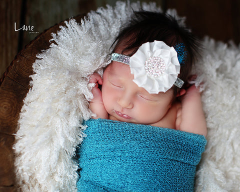 baby headband...ivory and silver headband...photography props...baby girl headband