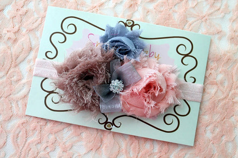 baby girl headband...newborn headband..baby headband...peach gray headband..toddler headband..girl headband..photography prop
