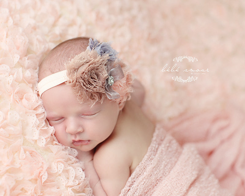 b08d64fed baby girl headband...newborn headband..baby headband...peach gray headband..toddler  headband..girl headband..photography prop