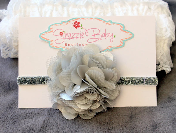 gray headband..baby headband...hoiday christmas headband..newborn headband.....photography props