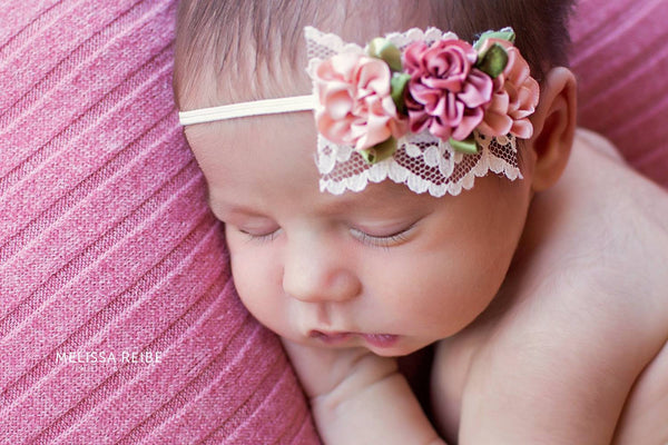 Dainty Baby Headband Vintage Inspired Baby Girl Headband Newborn Infant Toddler Rose Lace Blush Headband Photo Prop (Vintage Blush Roses)