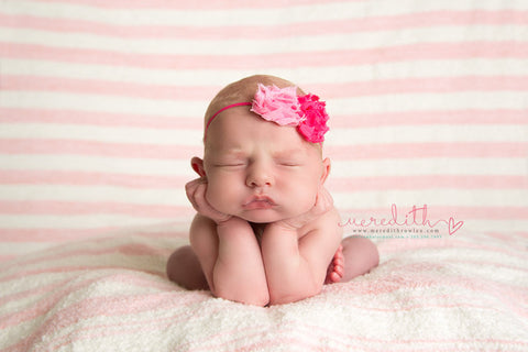 Baby headband...girl headband...newborn pink and hotpink shabby chic headban..photography prop..Shabby Chic Headband