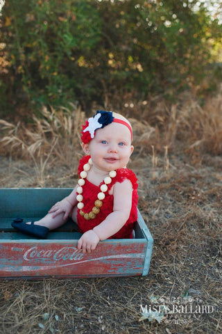Red Lace Romper Set. Girls Outfit.Red White Blue Headband Romper.. Fourth 4th of July Romper.Newborn Homecoming Romper Set.Photo Prop