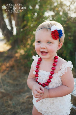 White Lace Romper Set.Birthday Outfit.Red White Blue Headband Romper.. Fourth 4th of July Romper.Newborn Homecoming Romper Set.Photo Prop