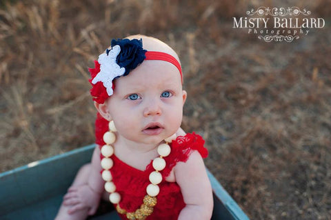 Girl Headband Baby Headband Red Blue White Star Shabby Chic Headband Toddlers Newborns Infants Photography Prop. Baby Hair Bow.Patriotic