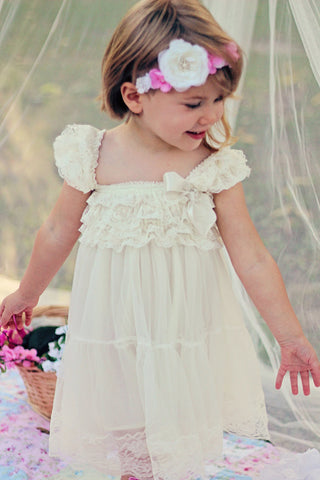 Rustic Flower Girl Dress / Country Flower Girl Dress / Lace Petti Dress..Rustic Flower Girl / Ivory Lace Flower Girl Dress / Cream..Wheat .