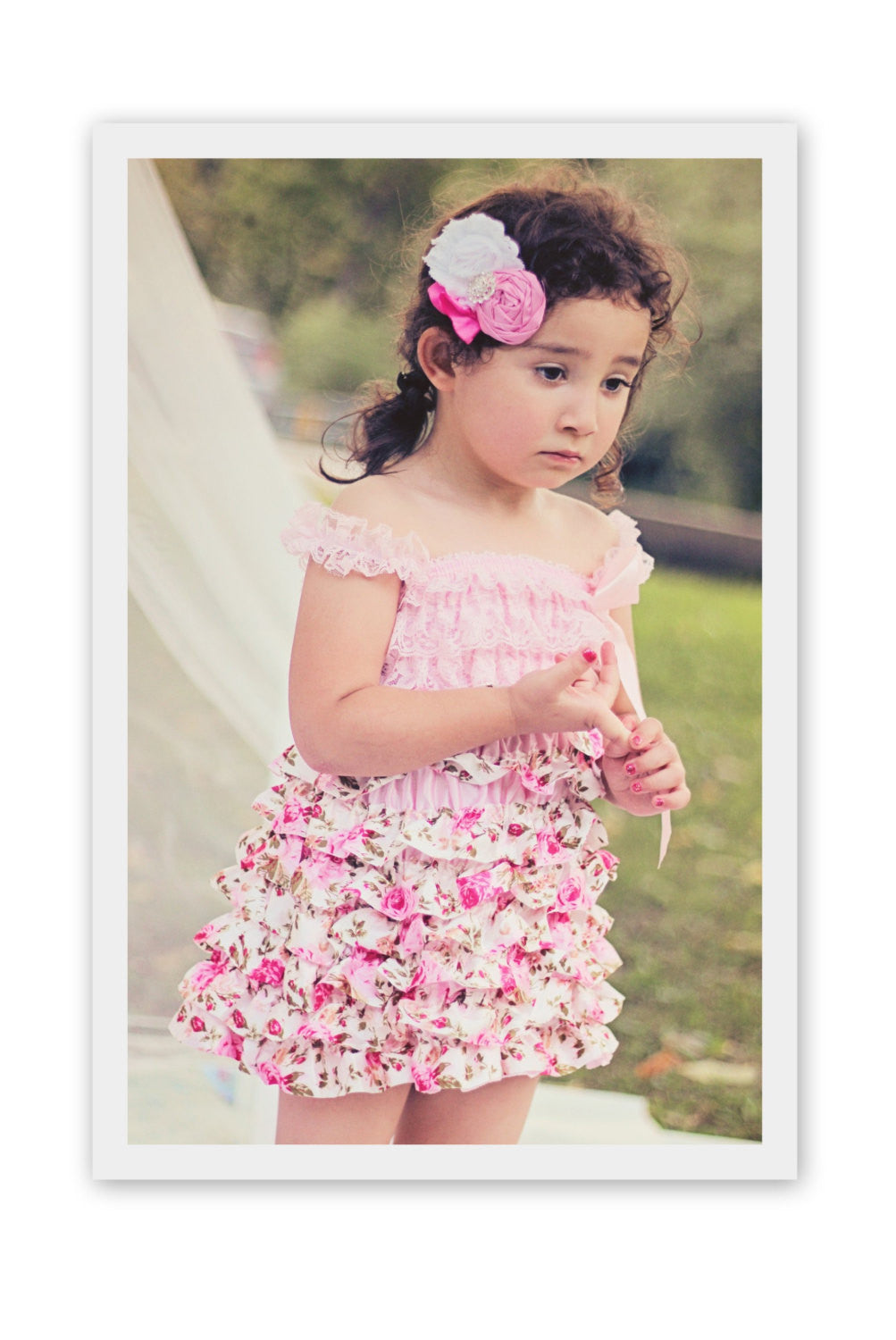 Girls Lace Dress Birthday Outfit Flower Girl Dress Vintage Tea