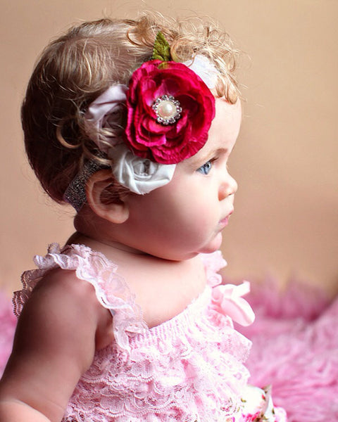 Girl Couture Beadband...Baby Heaband...Baby Girl Pink Headband...Photography Prop..Tea Party Vintage..Matilda Jane
