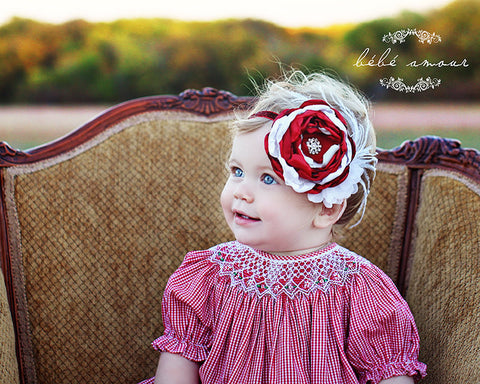 Christmas Red White Baby Headband..Baby Couture Headband..Baby Girl Headband..Newborn Headband.Toddler Headbands..Photo Prop..Christmas.Stocking Stuffing