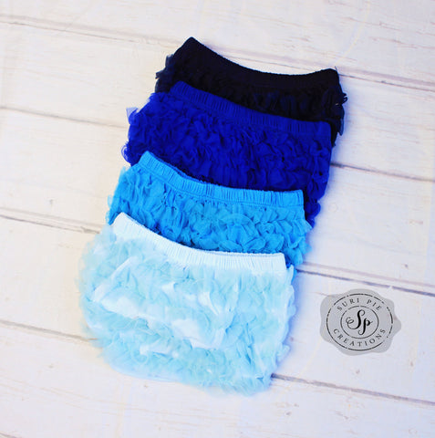 Baby Ruffle Bloomers..Blue Lace Ruffle Bum Baby Bloomer .. Baby bloomers..Cake Smash..NewbornmRuffle bloomers .. Diaper cover .. Photo prop