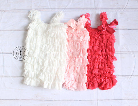 Petti Lace Romper..Girl Clothing..Newborn Homecoming Outfit..Baby's Birthday Outfit..Photography Prop..