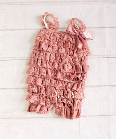 Blush Lace Romper..Girl Clothing..Newborn Homecoming Outfit..Baby's Birthday Outfit..Photography Prop..
