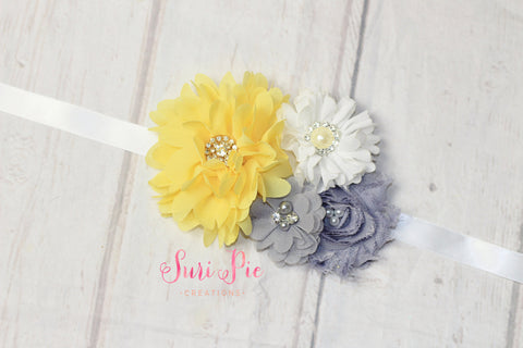 Yellow Gray Sash..Bridal Sash..Maternity Sash.Romper Sash.Flower Girl Dress Sash..Baby Girl Easter Clothing.1st Birthday. Photo Prop