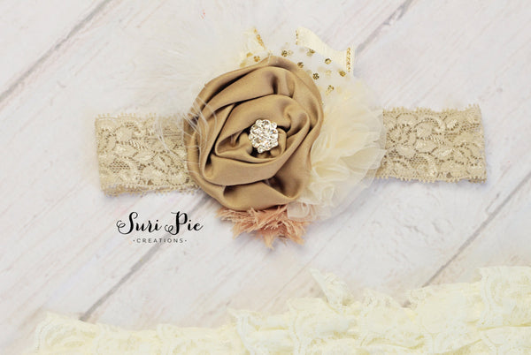 Rustic Ivory Baby Headband...Newborn headband..Shabby Chic headband...Flower Girl Headband..Hair Clip..Burlap Wedding