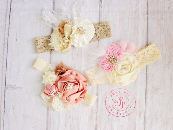 Baby Headband.. Ivory Baby Headband...Newborn headband..Shabby Chic headband...Rustic Flower Girl Headband..Hair Clip..Burlap Wedding