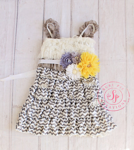 Easter Girl Clothing..Flower Girl Dresses..birthday outfit..Easter..1st Birthday Outfit..Yellow Gray Outfit..Newborn Coming Home Outfit