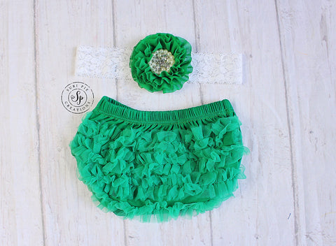 St. Patricks Baby Outfit..Newborn Diaper Cover...Chiffon Ruffle Bloomer..First Birthday..Cake Smash Outfit..Newborn Photo Prop