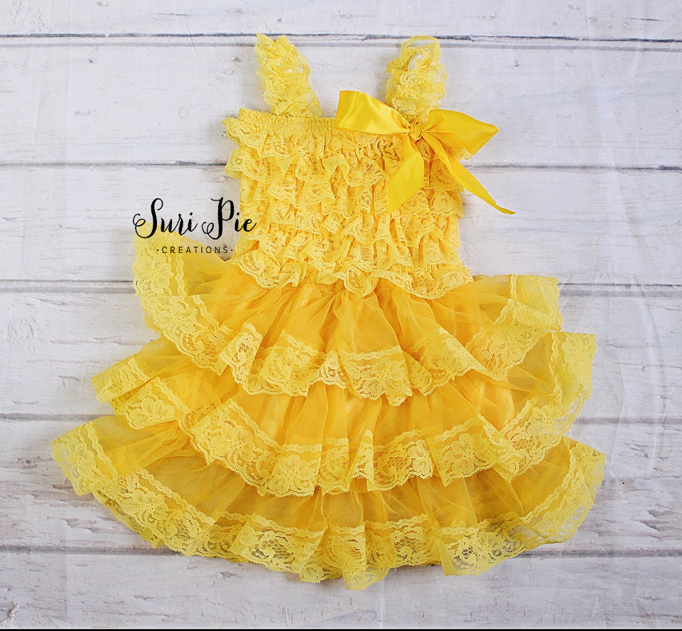Yellow Easter Dressflower Girl Dress1st Birthday Dress Tutu