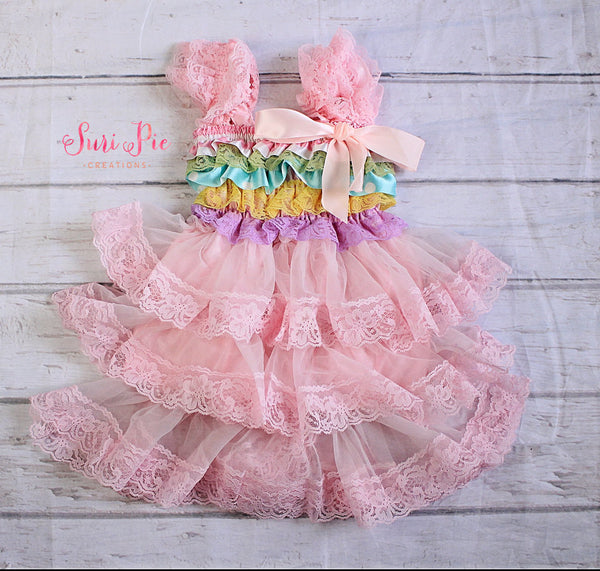 Sale Pastel Baby Dress..Pink Lace Flower Girl Dress..Baby's Birthday Outfit..Photography Prop..Flower Girl Outfit..Smash the Cake.