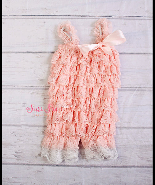 Pink Petti Lace Romper..Girl Clothing..Newborn Homecoming Outfit..Baby's Birthday Outfit..Photography Prop..