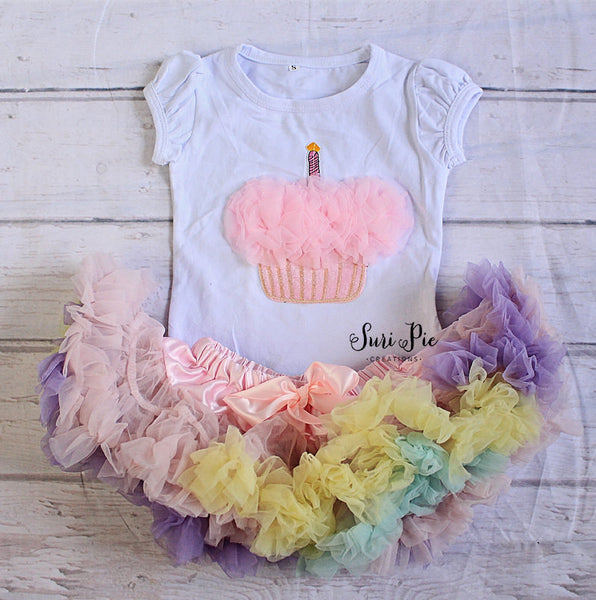Copy of Baby Birthday Clothing..Girl 1st Birthday Outfit..Cupcake Top...Umbrae Skirt..Baby's Birthday Outfit..Photo Prop..Smash the Cake..Petti Skirt Top Set