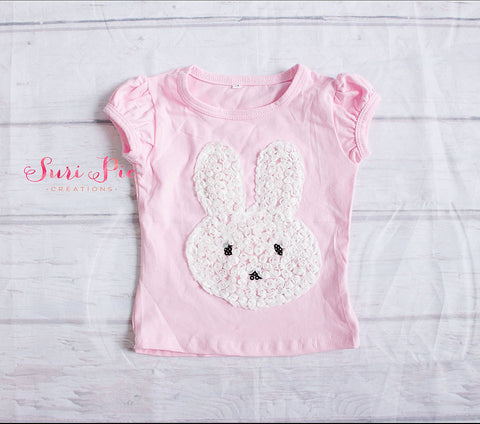 Bunny shirt. Easter top - Baby Girl Easter outfit - Bunny Baby Shirt..Girls Easter Shirt - Kids Easter Clothes - Pink Bunny shirt - T- Shirt