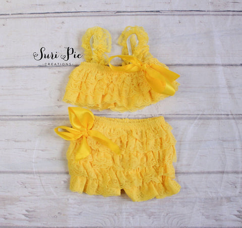 Petti Lace Romper Shorts and Top Set..Birthday Outfits..Easter Photography Prop..Petti Shorts..Petti Top..Newborn..Toddler Clothing