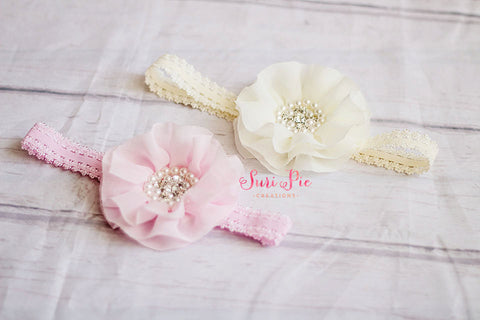 Hair Bows..Ivory Pink Baby Girl Head Band..Newborn headband..Shabby Chic headband...Rustic Flower Girl Headband..