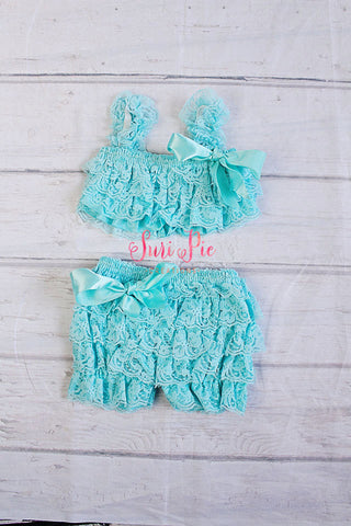 Petti Lace Romper Shorts and Top Set.. Baby Outfit..Easter Photo Prop..Petti Shorts..Petti Top..Newborn..Toddler Clothing