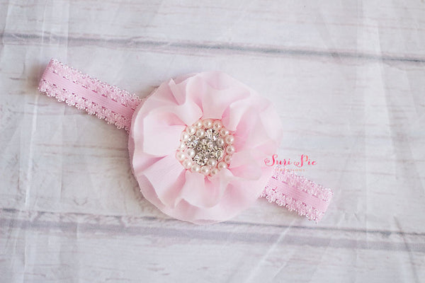 Hair Bows...Pink Baby Headband..Newborn headband..Shabby Chic headband...Rustic Flower Girl Headband..