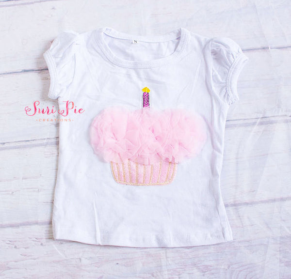 Baby Girl Birthday Cupcake Top..Baby Girls Birthday Outfit...Cake Smash Outfit..Baby Girl's Cupcake Shirt..Girls T-shirt..Cupcake Pink Top