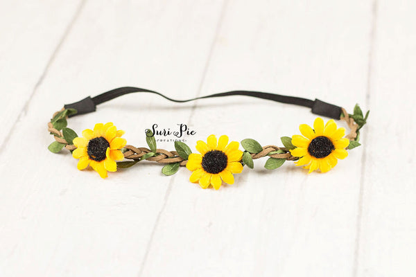 Dainty Sunflower Baby headband...Boho Headband. Halo Headband..Flower Crown..Rustic Burlap Wedding Headband..newborn..photography props
