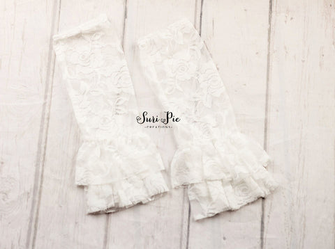 Baby Ruffle Lace Leg Warmers..White Leg Lace Warmers..Photography Prop..Baby Girl Accessories