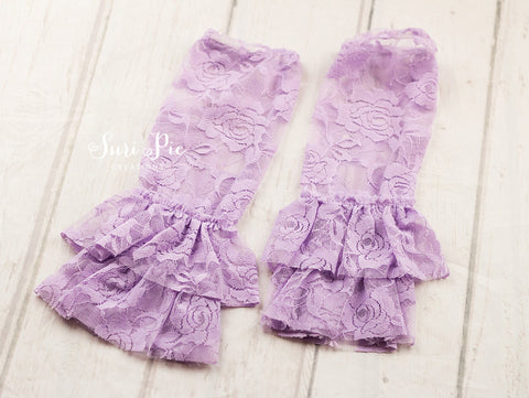 Ruffle Lace Leg Warmers..Lavender Leg Lace Warmers..Photography Prop..Baby Girl Accessories