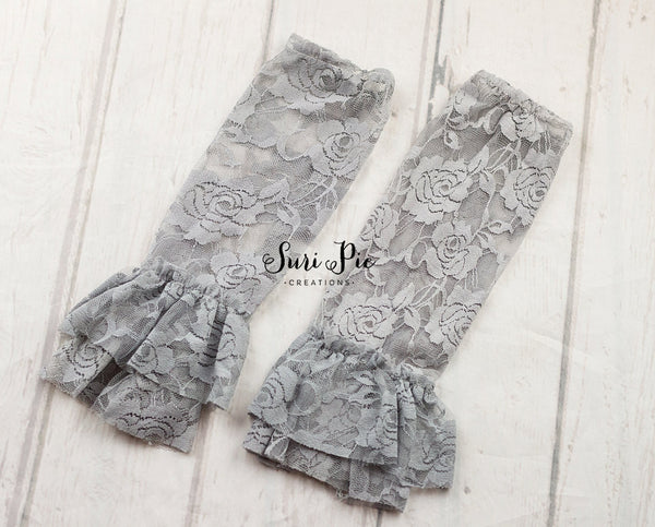 Ruffle Lace Leg Warmers..Gray Leg Lace Warmers..Photography Prop..Baby Girl Accessories
