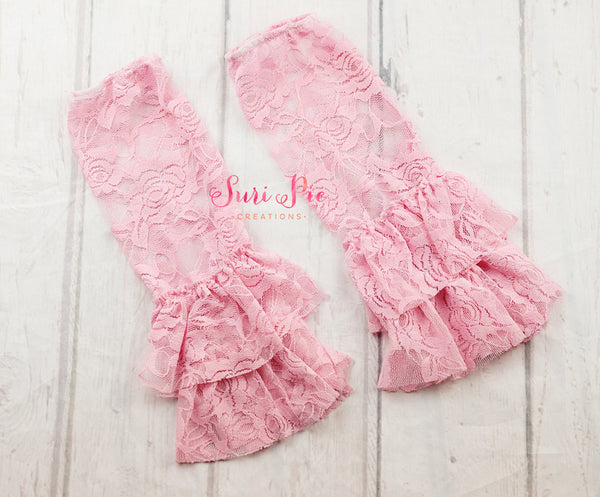 Baby Ruffle Lace Leg Warmers..Pink Leg Lace Warmers..Photography Prop..Baby Girl Accessories